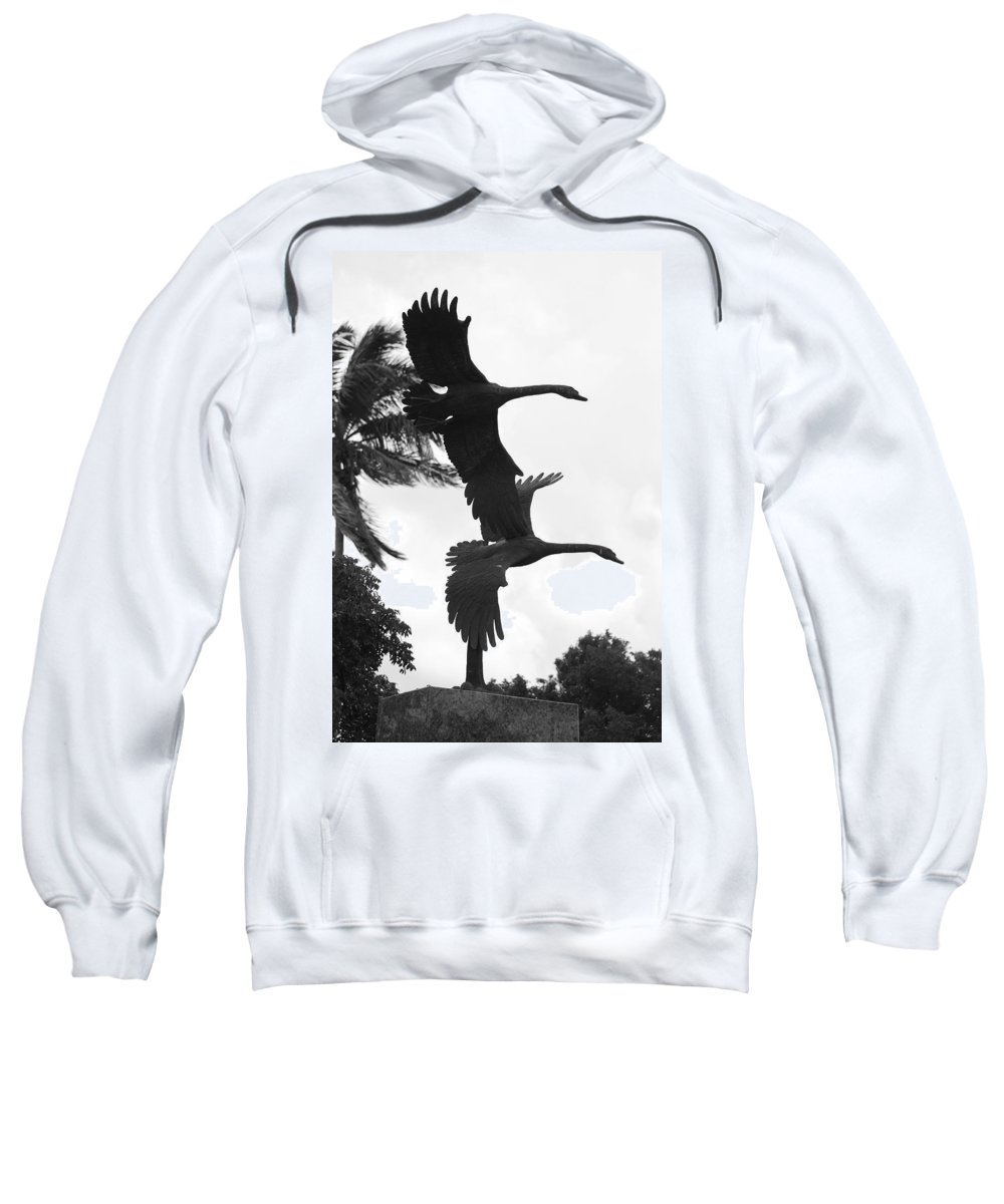 Black And White Sweatshirt featuring the photograph Stone Birds by Rob Hans