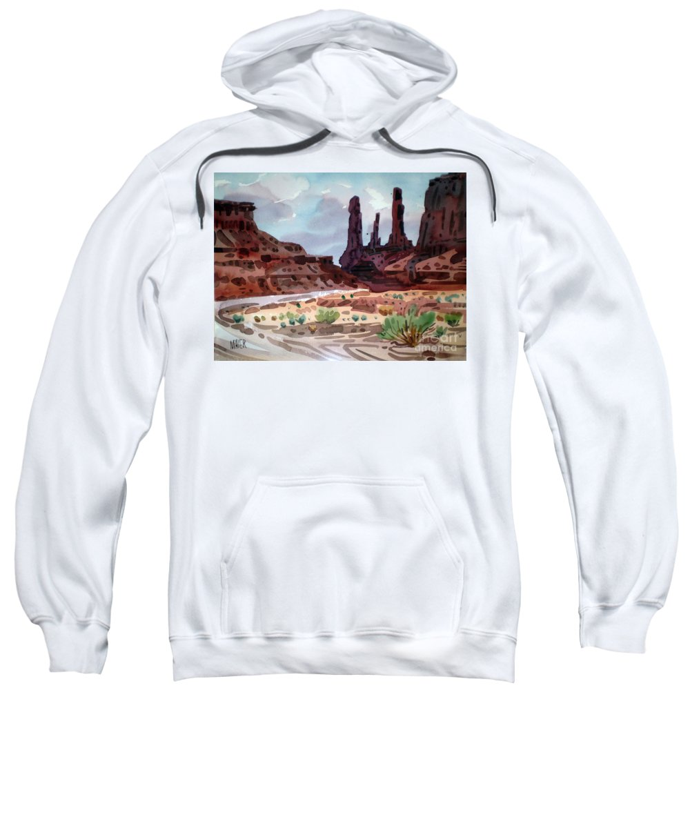Monument Valley Sweatshirt featuring the painting Three Sisters by Donald Maier