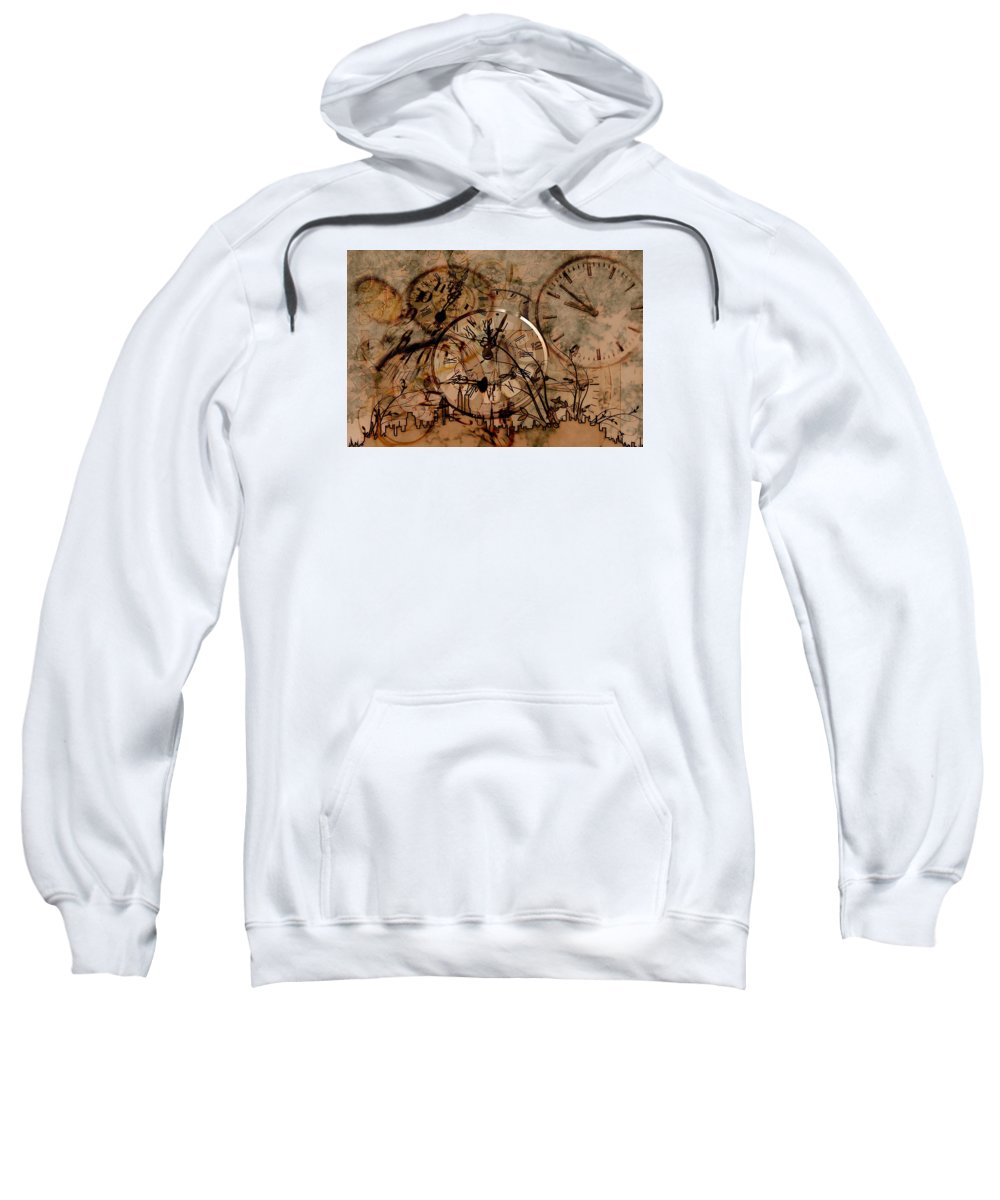 New Year's Day Sweatshirt featuring the drawing Time by FL collection