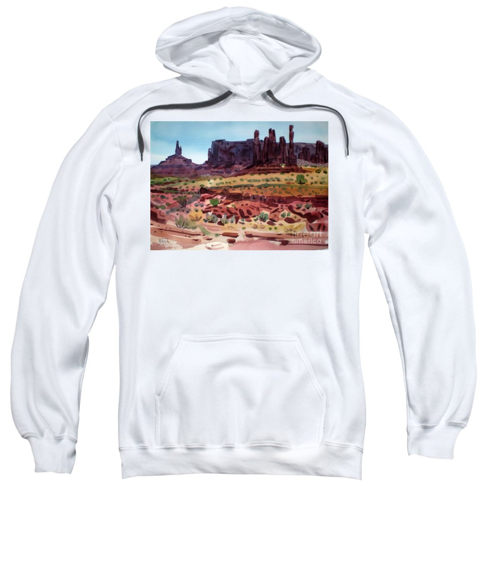 Monument Valley Sweatshirt featuring the painting Totem Poles by Donald Maier