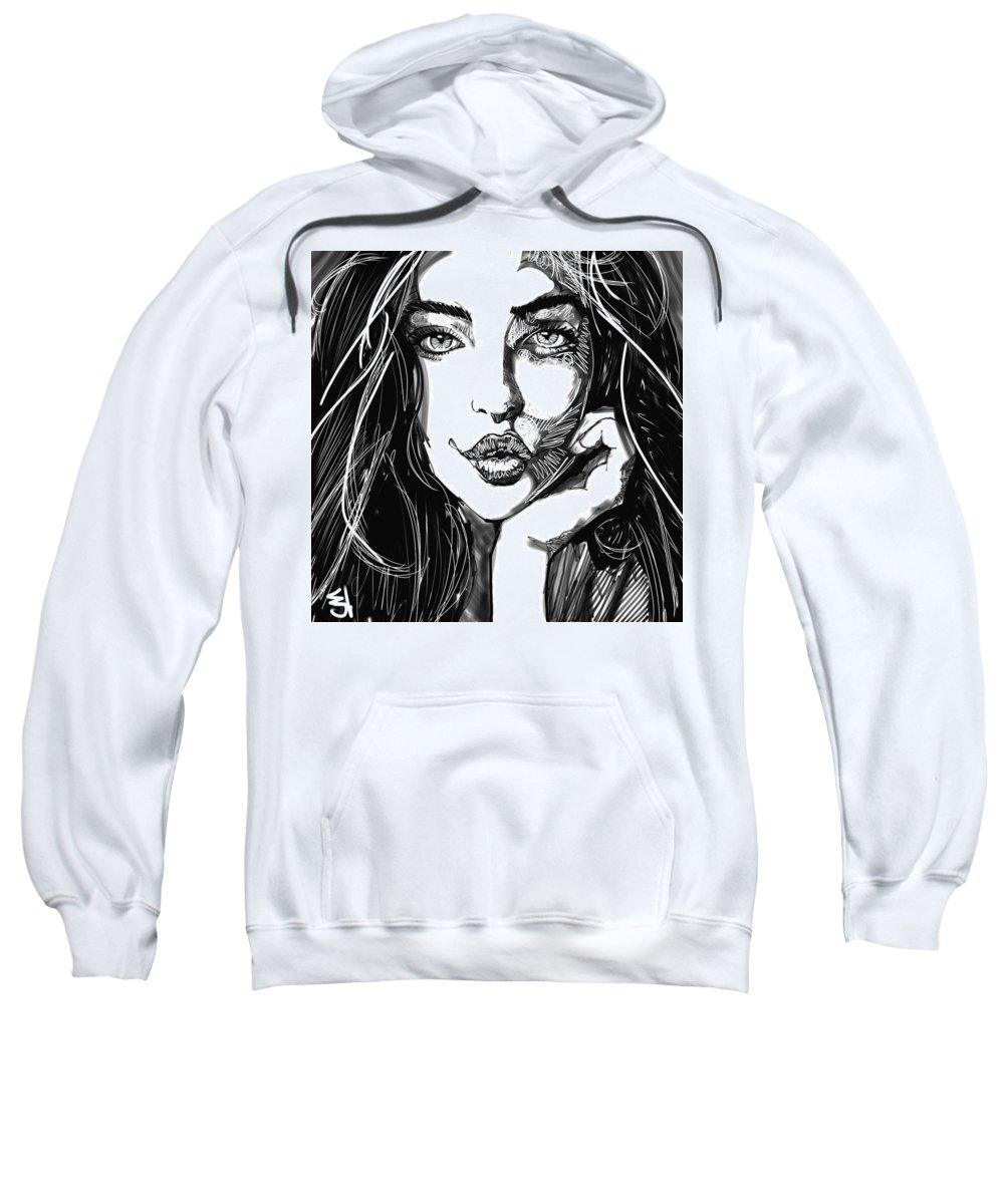 Digital Line Art Sweatshirt featuring the digital art Untitled by Carrley Mason