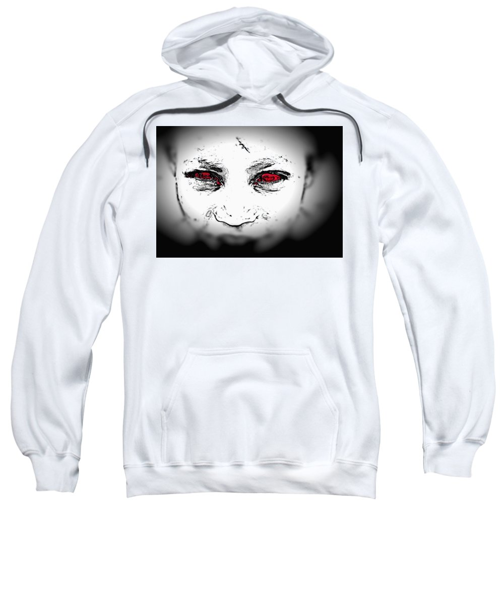 Eyes Face Looks Black And White Red Sweatshirt featuring the digital art Untitled by Veronica Jackson