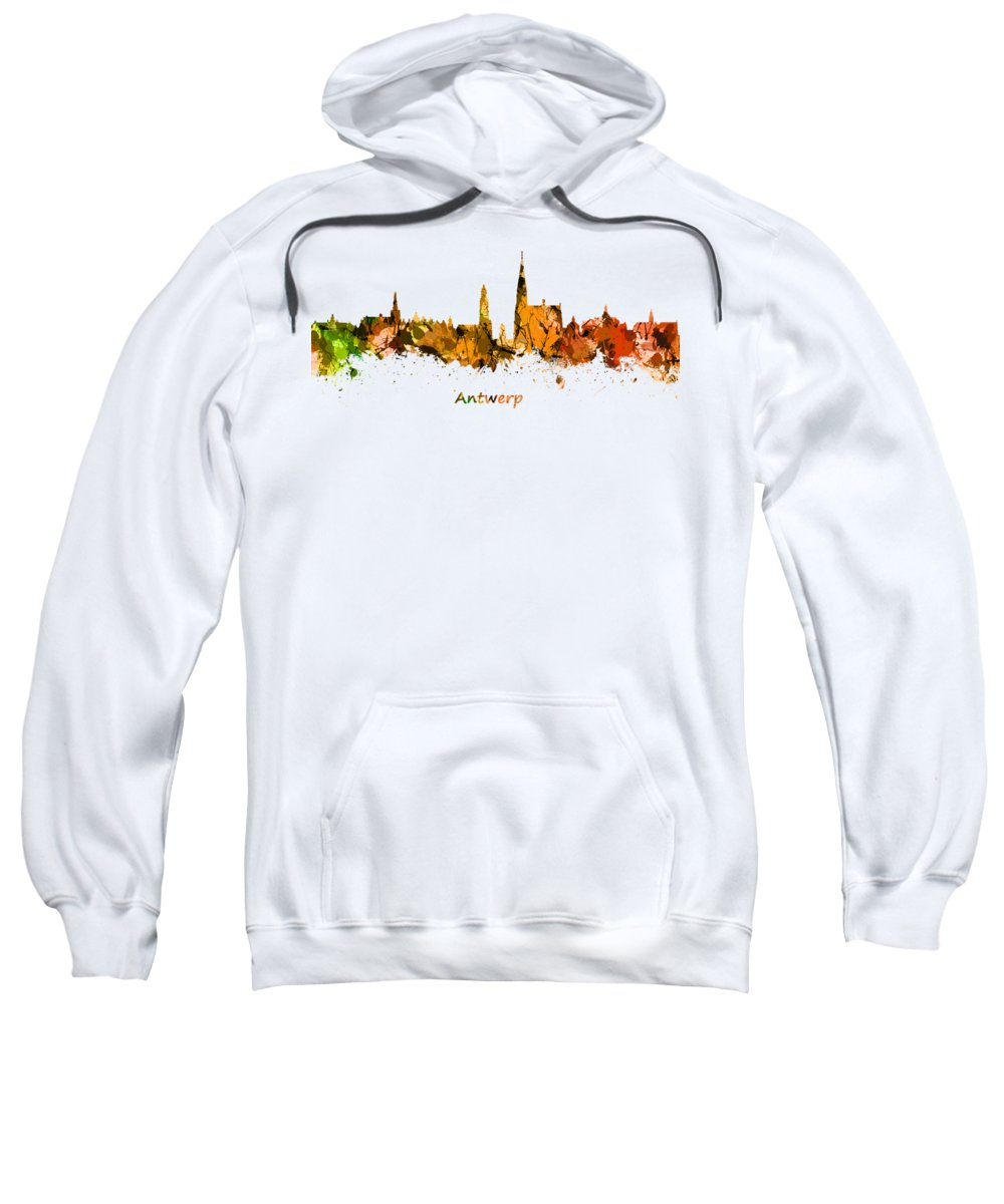 Antwerp Sweatshirt featuring the photograph Watercolor Art Print Of The Skyline Of Antwerp In Belgium by Chris Smith