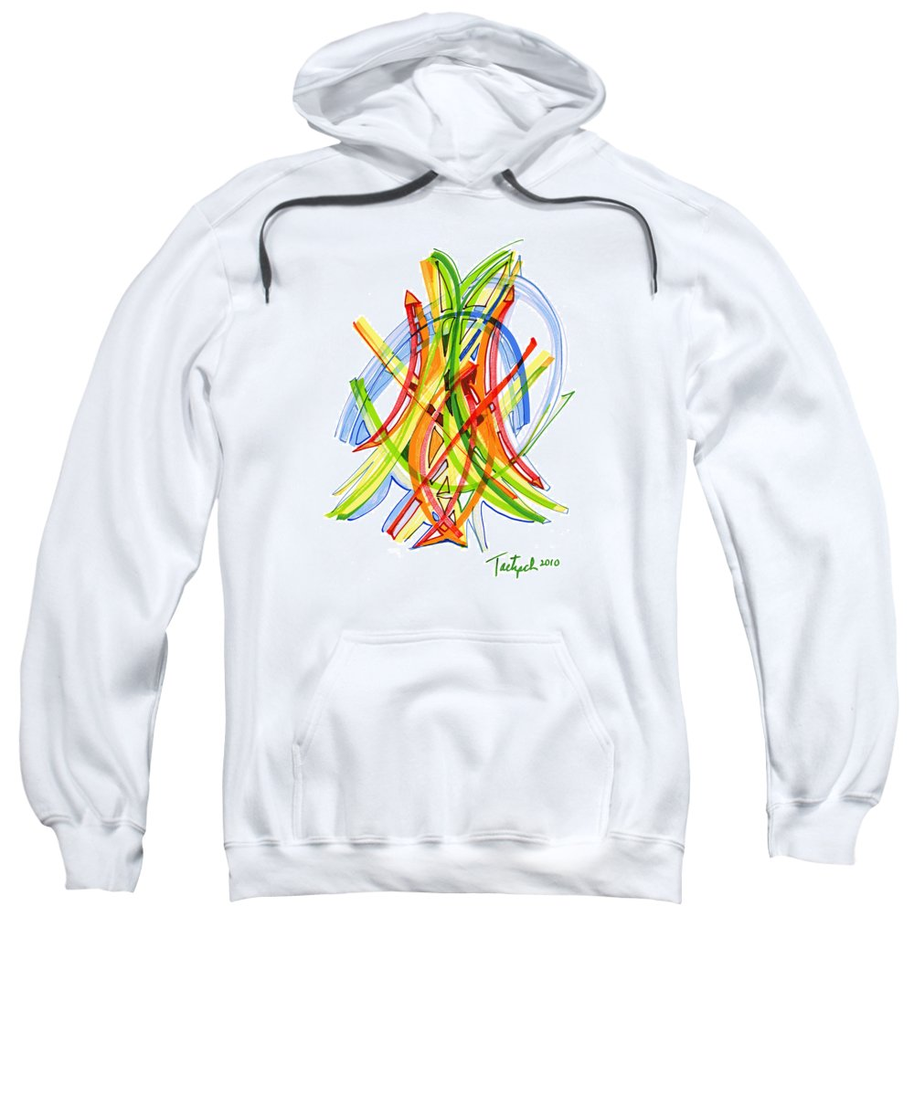 Abstract Art Sweatshirt featuring the drawing 2010 Abstract Drawing Seven by Lynne Taetzsch