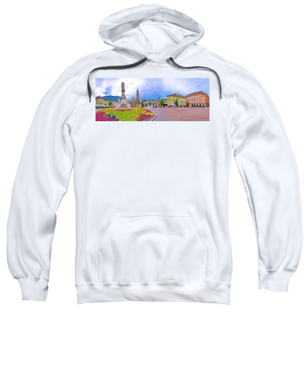 Bolzano Sweatshirt featuring the photograph Bolzano Main Square Waltherplatz Panoramic View by Brch Photography
