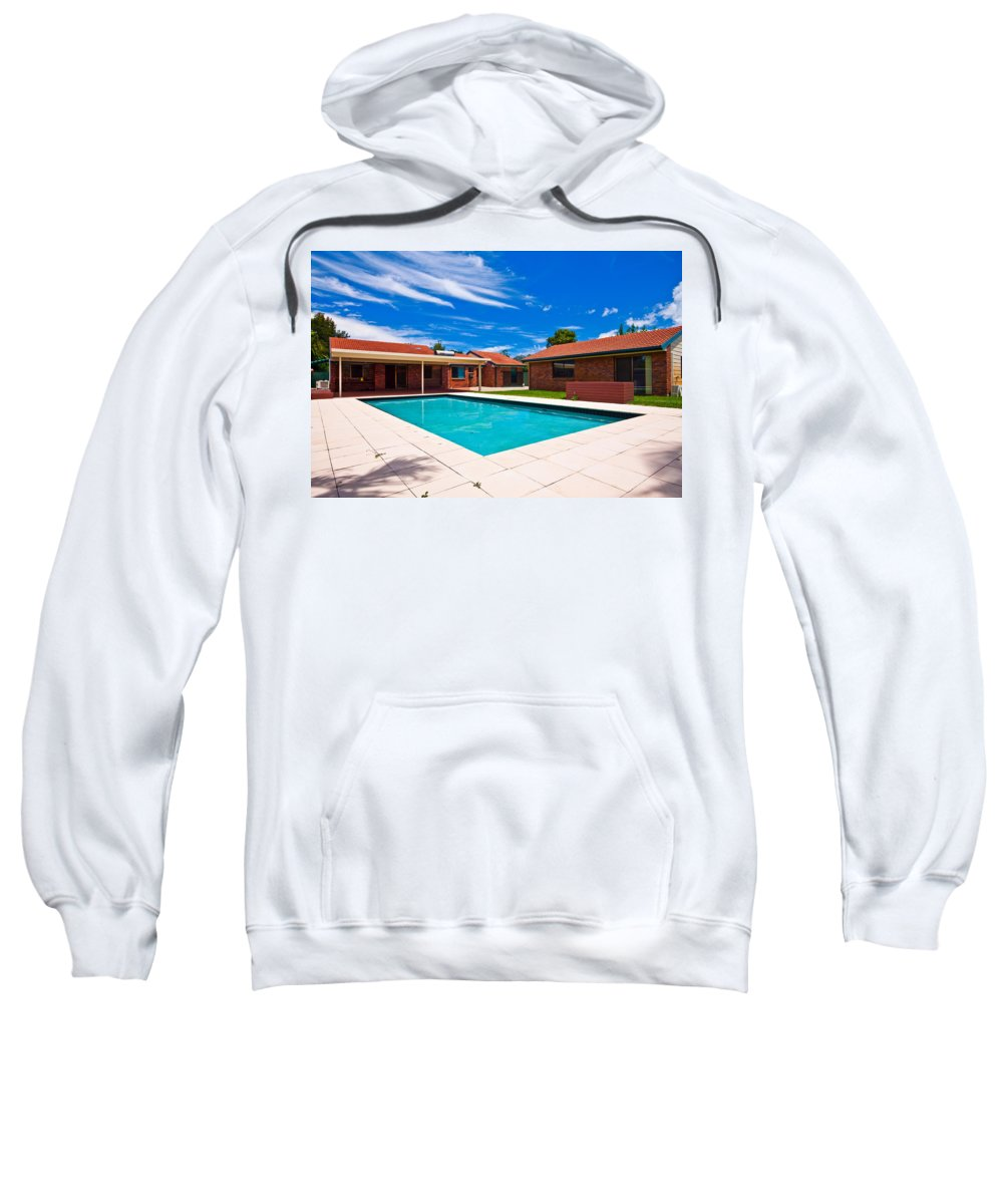 House Sweatshirt featuring the photograph House And Pool by Darren Burton