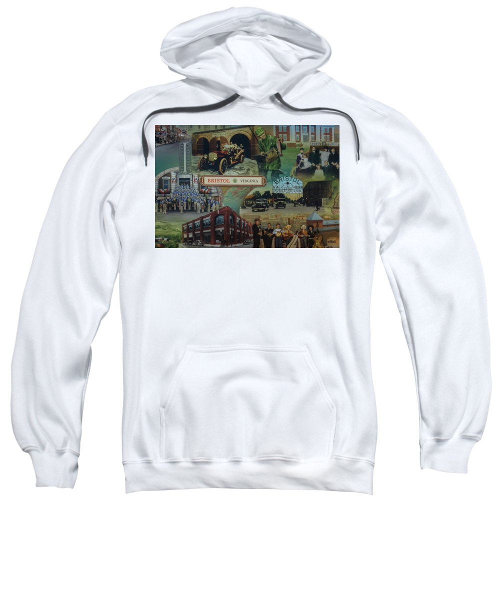 Mural Sweatshirt featuring the photograph History Of Bristol Tn/va by Gary Snell