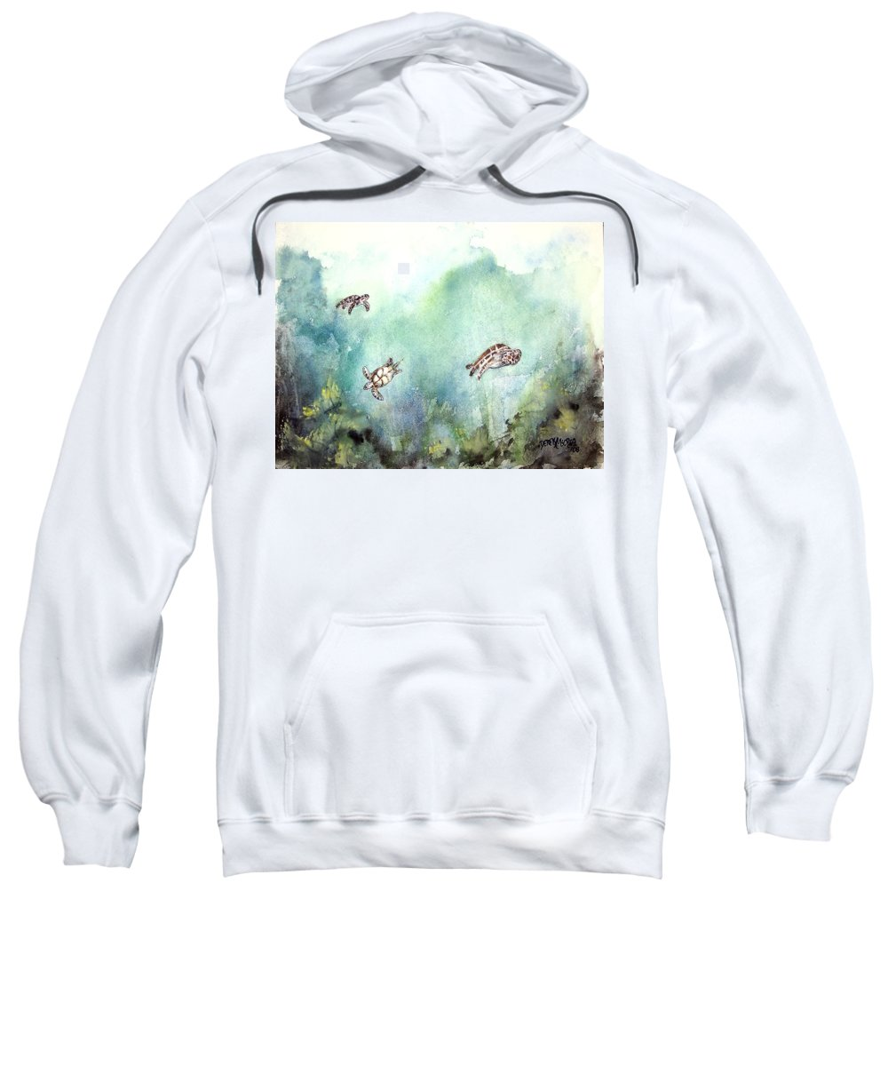 Turtle Sweatshirt featuring the painting 3 Sea Turtles by Derek Mccrea
