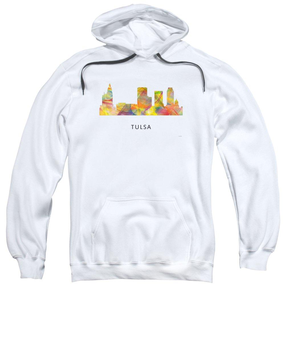 Tulsa Oklahoma Skyline Sweatshirt featuring the digital art Tulsa Oklahoma Skyline by Marlene Watson