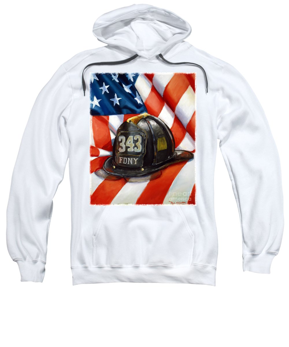 American Flag Sweatshirt featuring the painting 343 by Paul Walsh