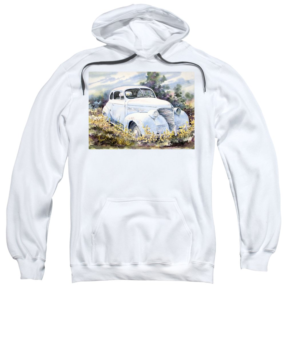 Automobile Sweatshirt featuring the painting 39 Chevy by Sam Sidders