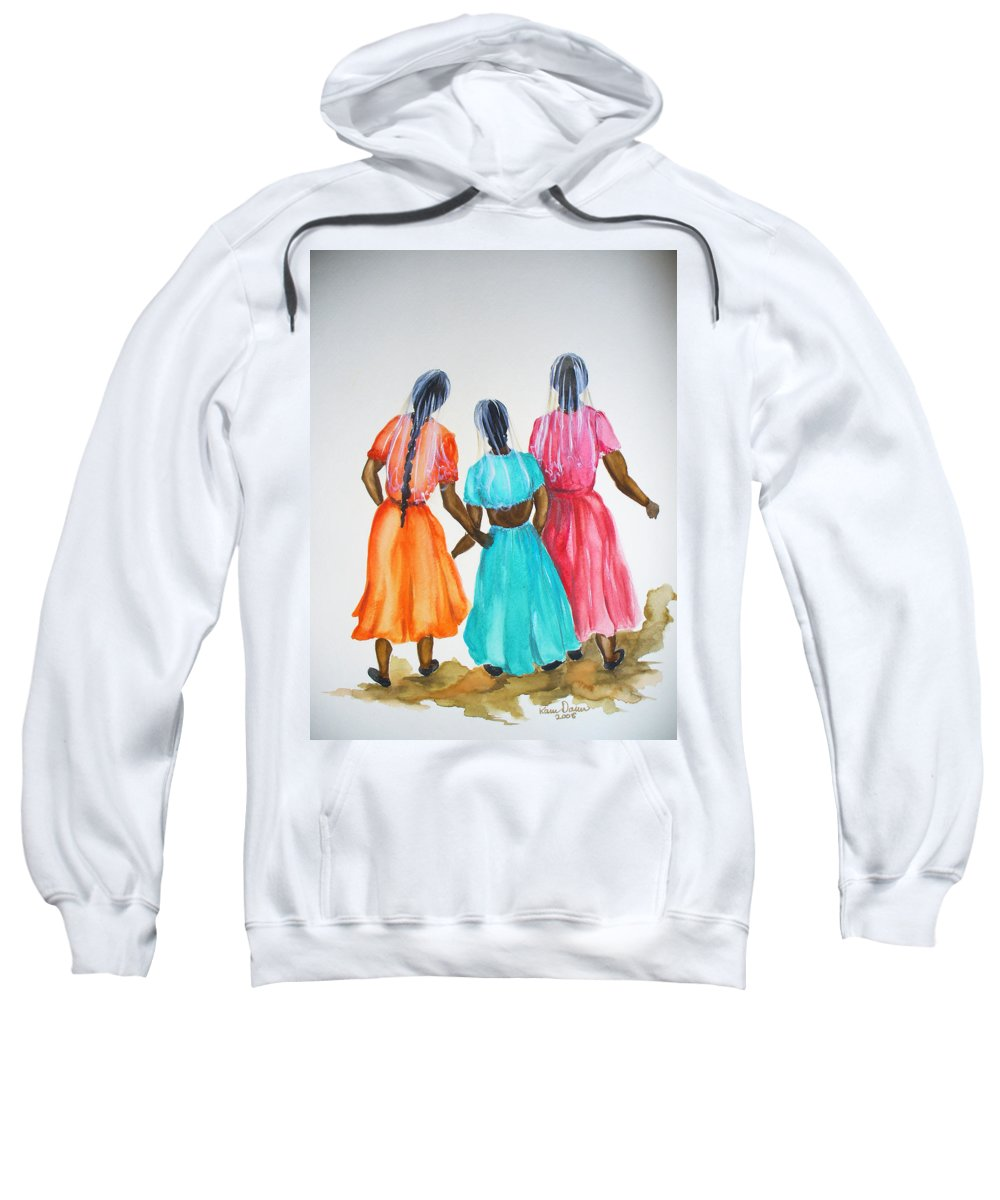 Three Ladies East Indian Sweatshirt featuring the painting 3bff by Karin Dawn Kelshall- Best