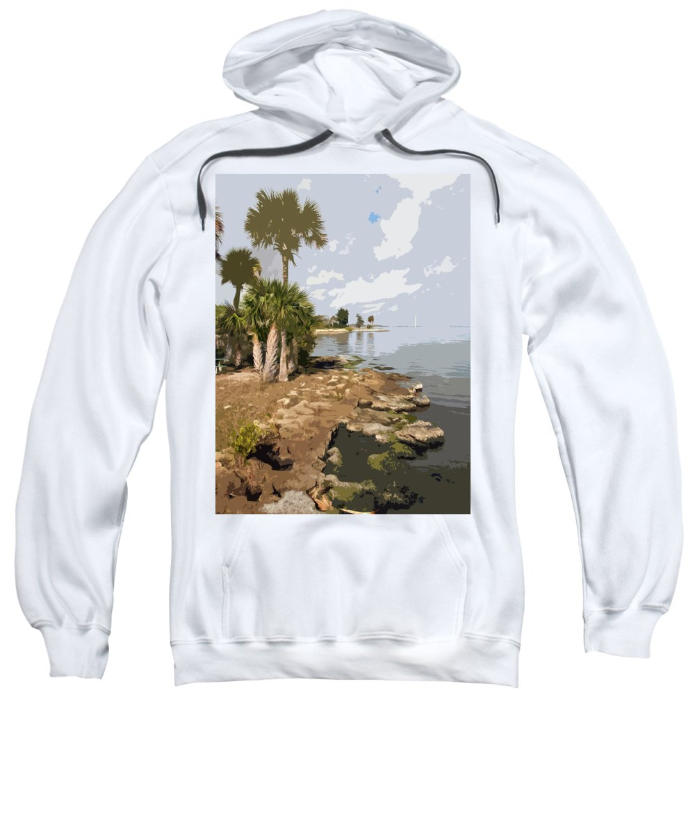 Castaway Sweatshirt featuring the painting Castaway Point On The Indian River Lagoon With Coquina Rock by Allan Hughes