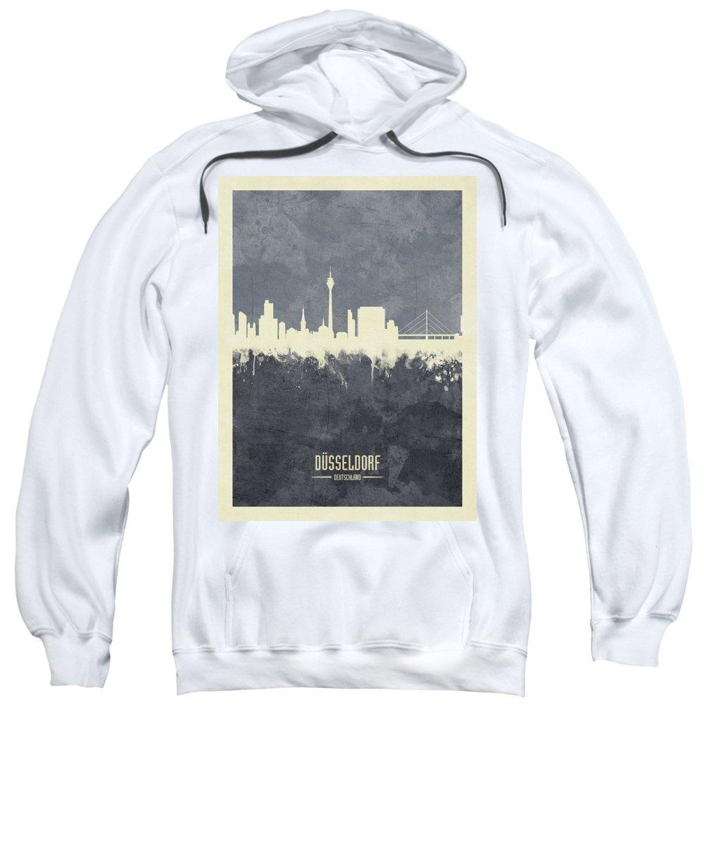 Düsseldorf Sweatshirt featuring the digital art Dusseldorf Germany Skyline by Michael Tompsett