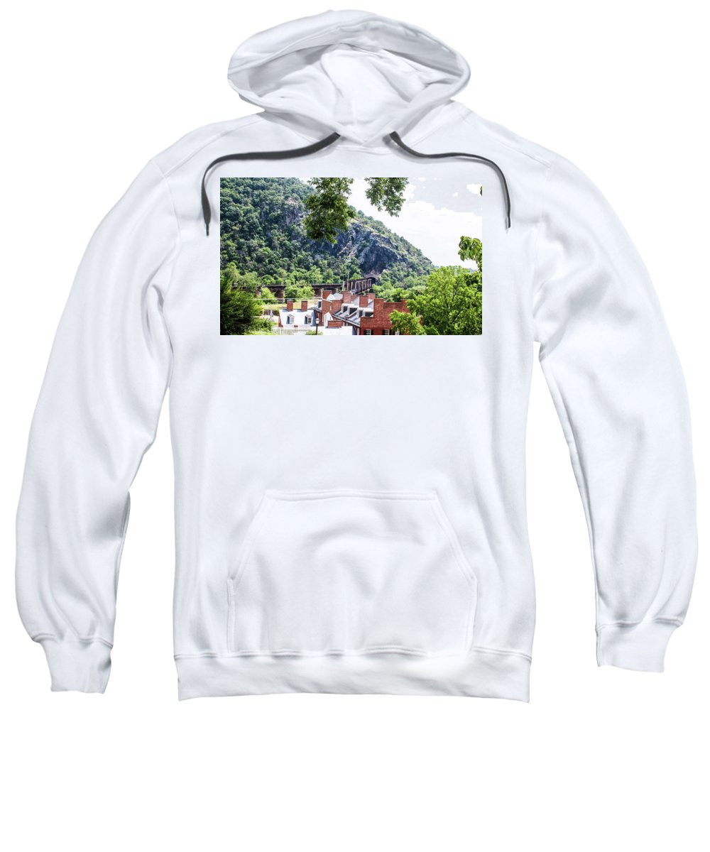 This Is A Photo Of The Train Lines That Come In And Out Of Harper's Ferry West Virginia. Sweatshirt featuring the photograph Harpers Ferry by William Rogers