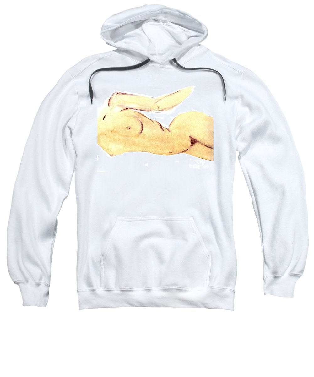 Nude Sweatshirt featuring the painting Nude by Michal Boubin