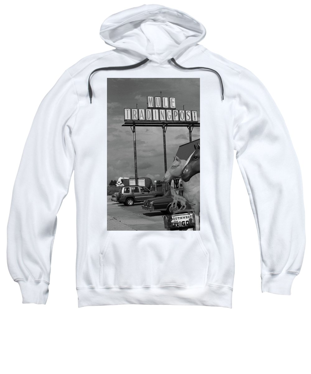 66 Sweatshirt featuring the photograph Route 66 - Mule Trading Post by Frank Romeo