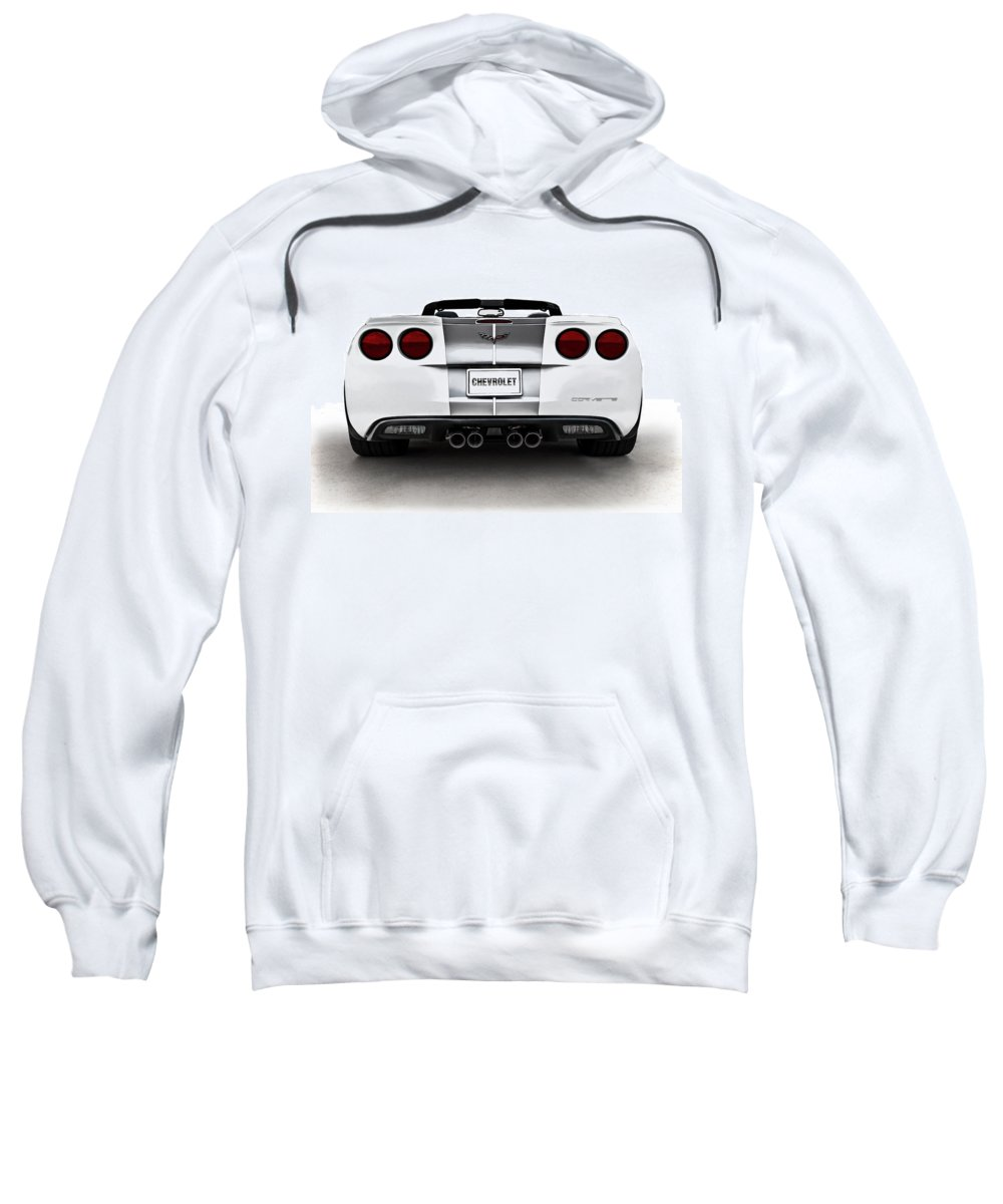 Anniversary Sweatshirt featuring the digital art 60th Anniversary Corvette by Douglas Pittman