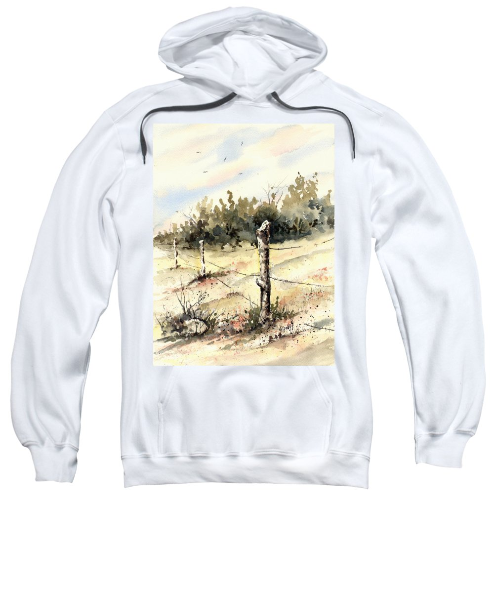 Sweatshirt featuring the painting 6th Grade Fence by Sam Sidders