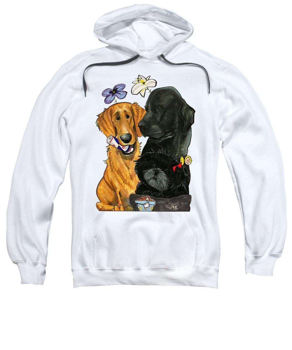 Pet Portrait Sweatshirt featuring the drawing 7-1396 Scallon by John LaFree