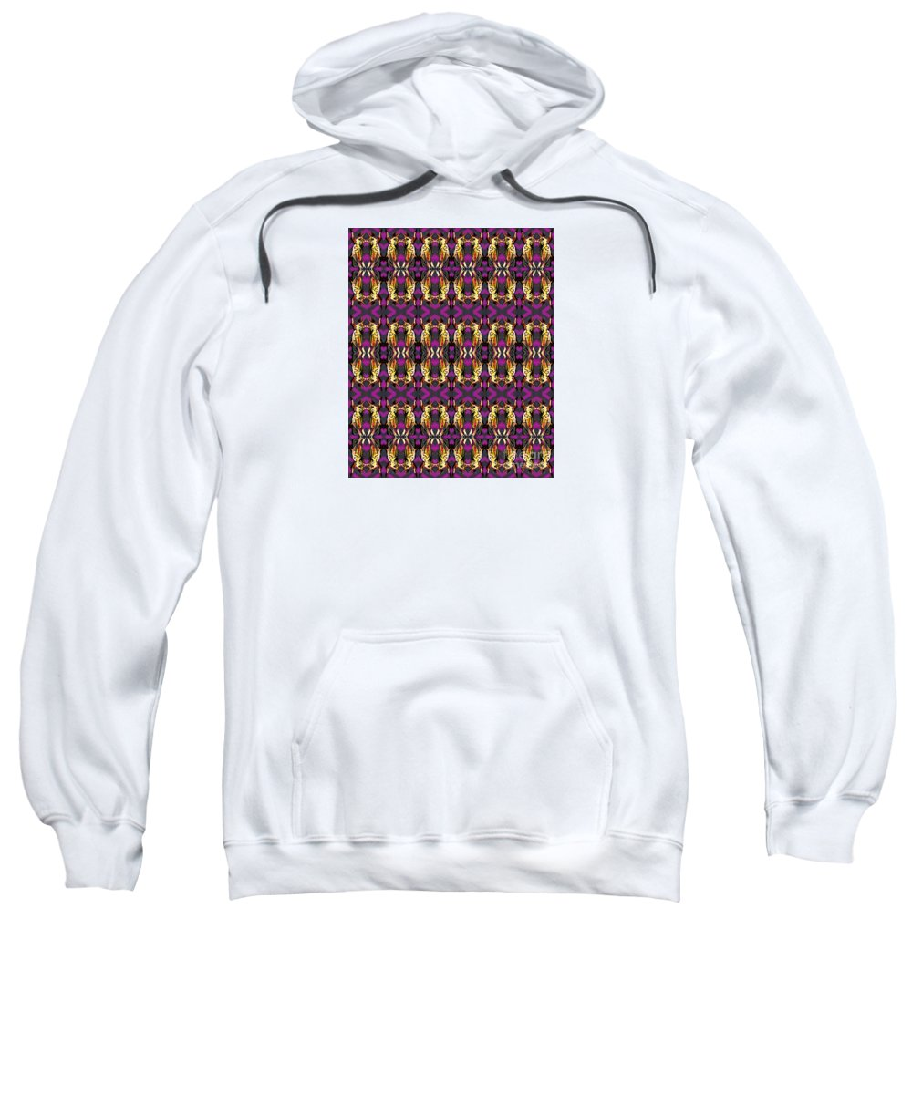 Playful Fun Pattern Of Colorful Grasshoppers On A Purple And Gray Background Sweatshirt featuring the digital art 72 Grasshoppers by Expressionistart studio Priscilla Batzell
