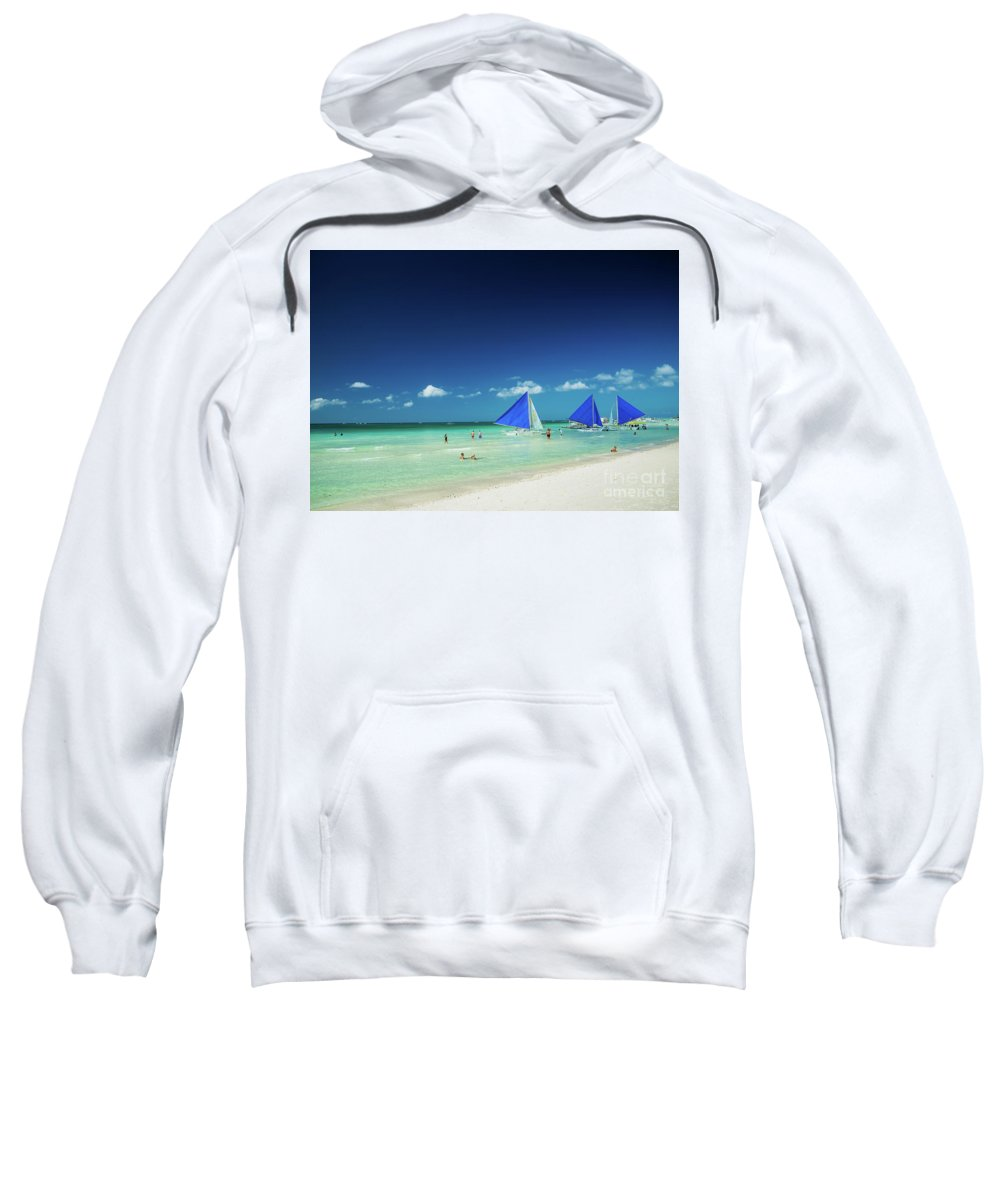 Asia Sweatshirt featuring the photograph Main Beach Of Tropical Paradise Boracay Island Philippines by Jacek Malipan