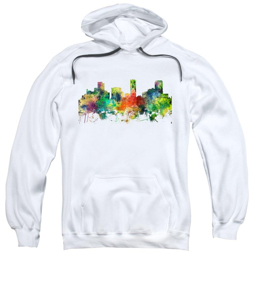 Denver Colorado Skyline Sweatshirt featuring the digital art Denver Colorado Skyline by Marlene Watson