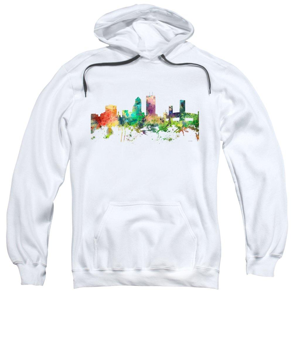 Jacksonville Florida Skyline Sweatshirt featuring the digital art Jacksonville Florida Skyline by Marlene Watson