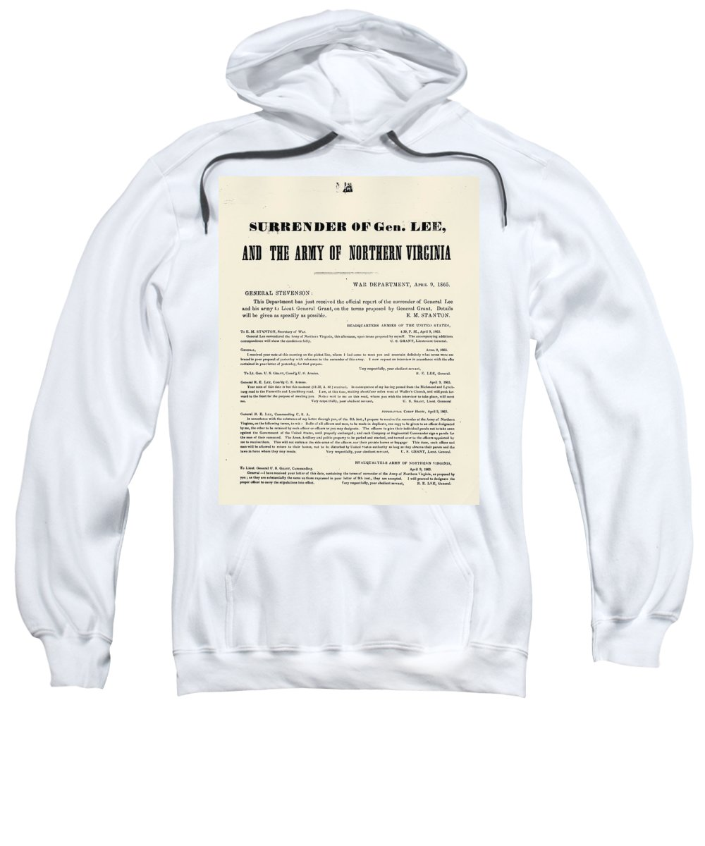 1865 Sweatshirt featuring the photograph Lees Surrender, 1865 by Granger