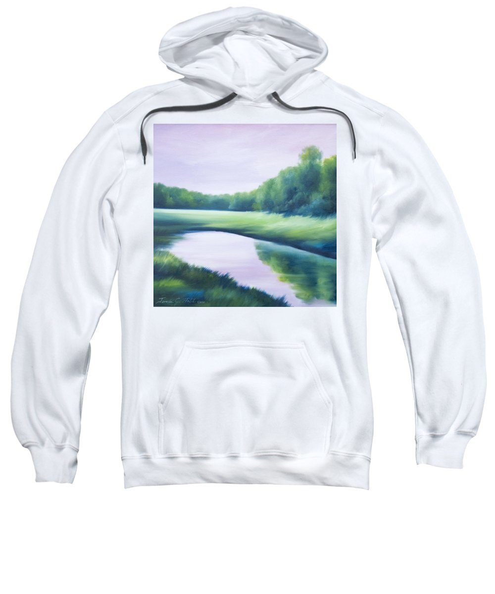 Nature; Lake; Sunset; Sunrise; Serene; Forest; Trees; Water; Ripples; Clearing; Lagoon; James Christopher Hill; Jameshillgallery.com; Foliage; Sky; Realism; Oils; Green; Tree; Blue; Pink; Pond; Lake Sweatshirt featuring the painting A Day In The Life 1 by James Christopher Hill