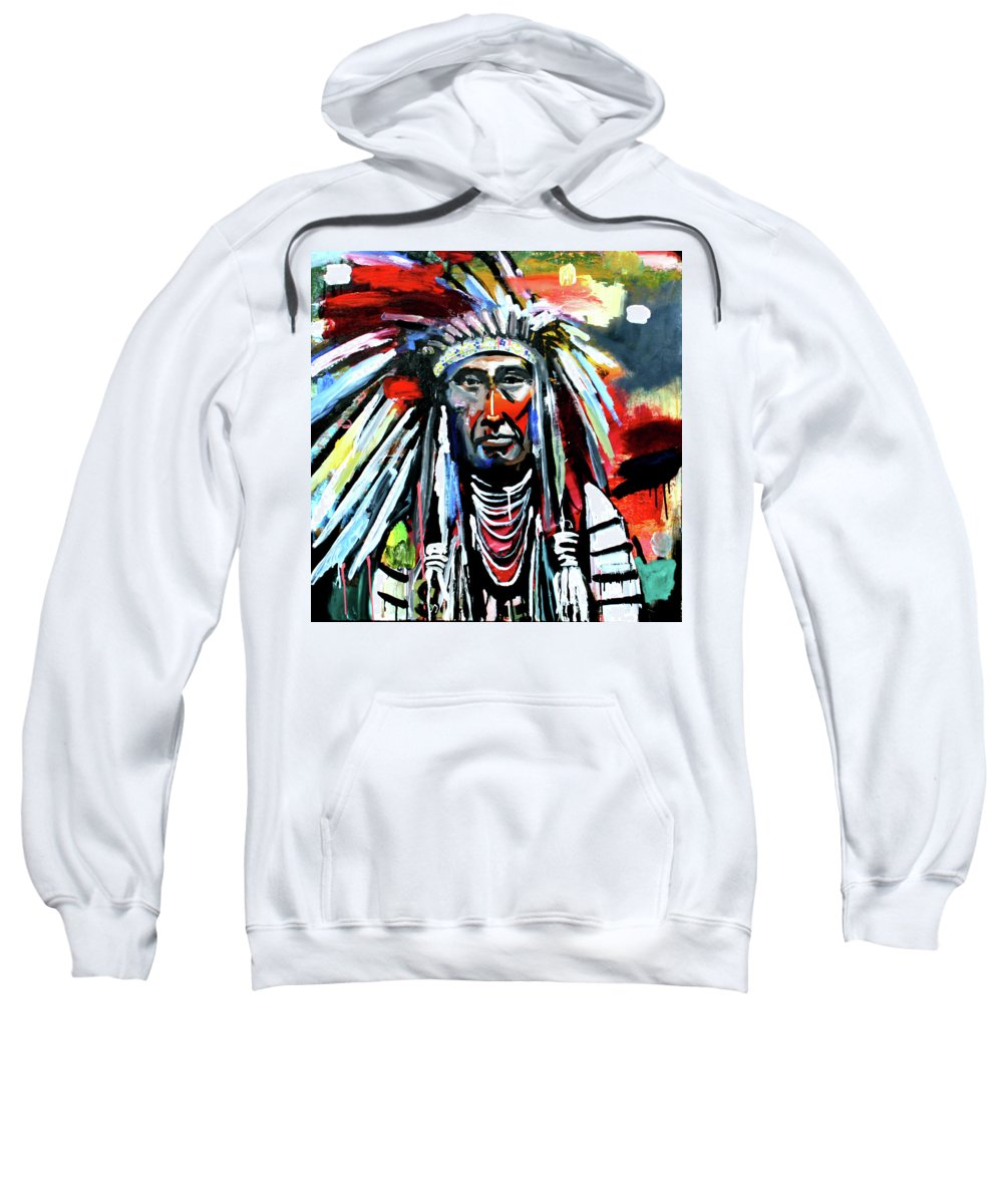 Chief Sweatshirt featuring the painting A Decorated Chief 1 by Scott Dykema