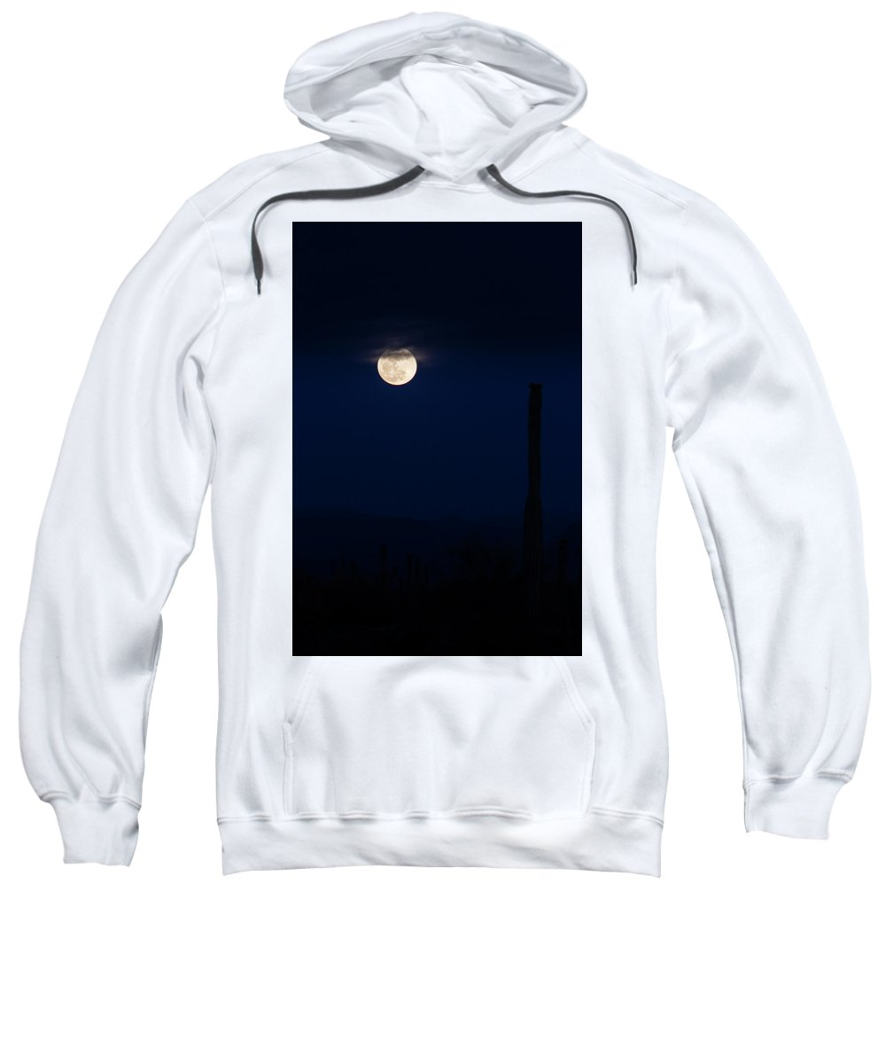 Arizona Sweatshirt featuring the photograph A Desert Moonrise by Cathy Franklin