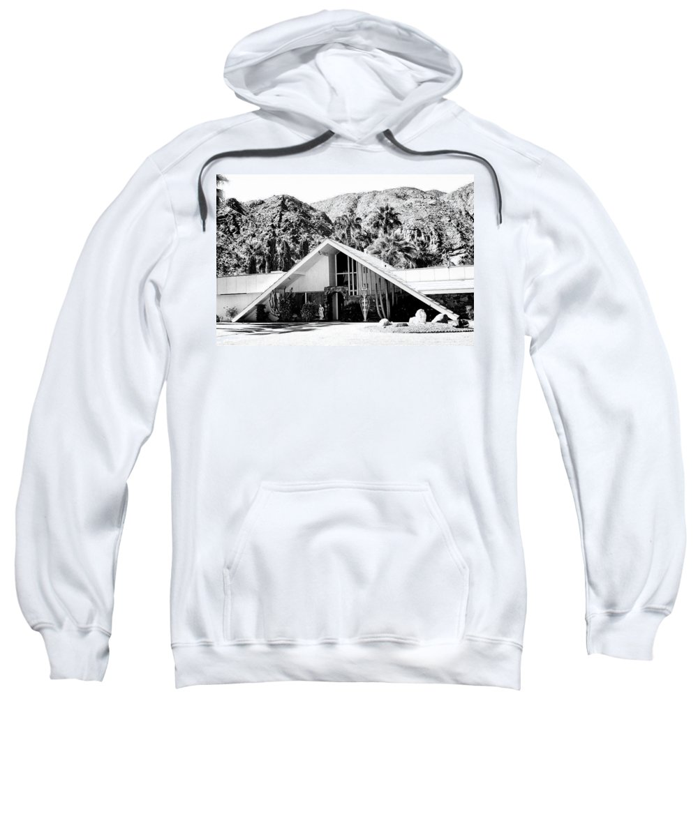 Movie Colony Homes Sweatshirt featuring the photograph A Frame Bw Palm Springs by William Dey