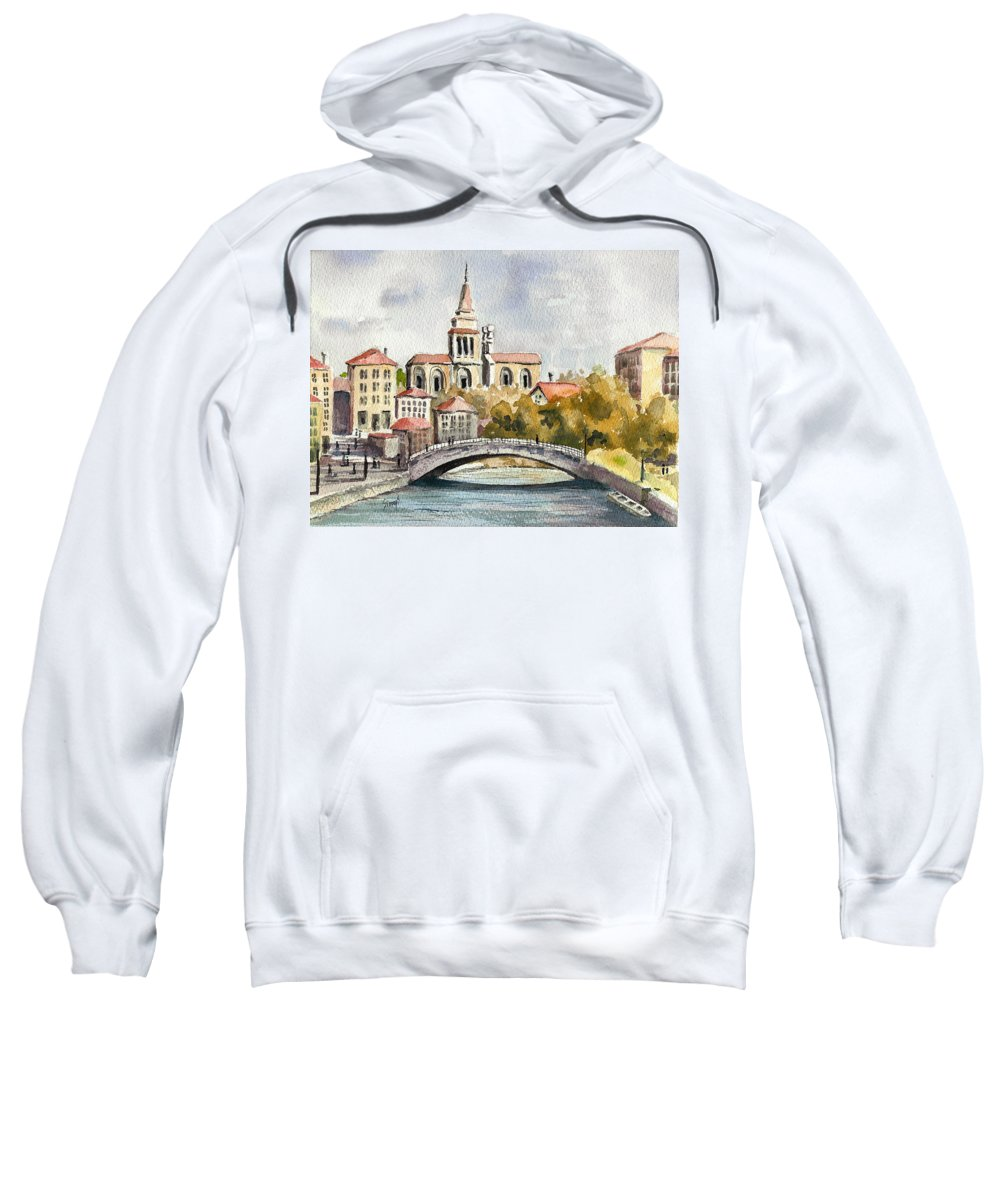 River Sweatshirt featuring the painting A German Memory by Sam Sidders