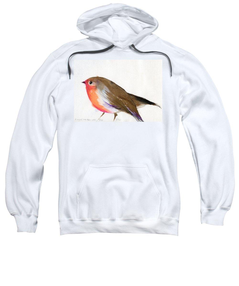 Robin Sweatshirt featuring the painting A Magical Little Robin Called Wisp by Nancy Moniz