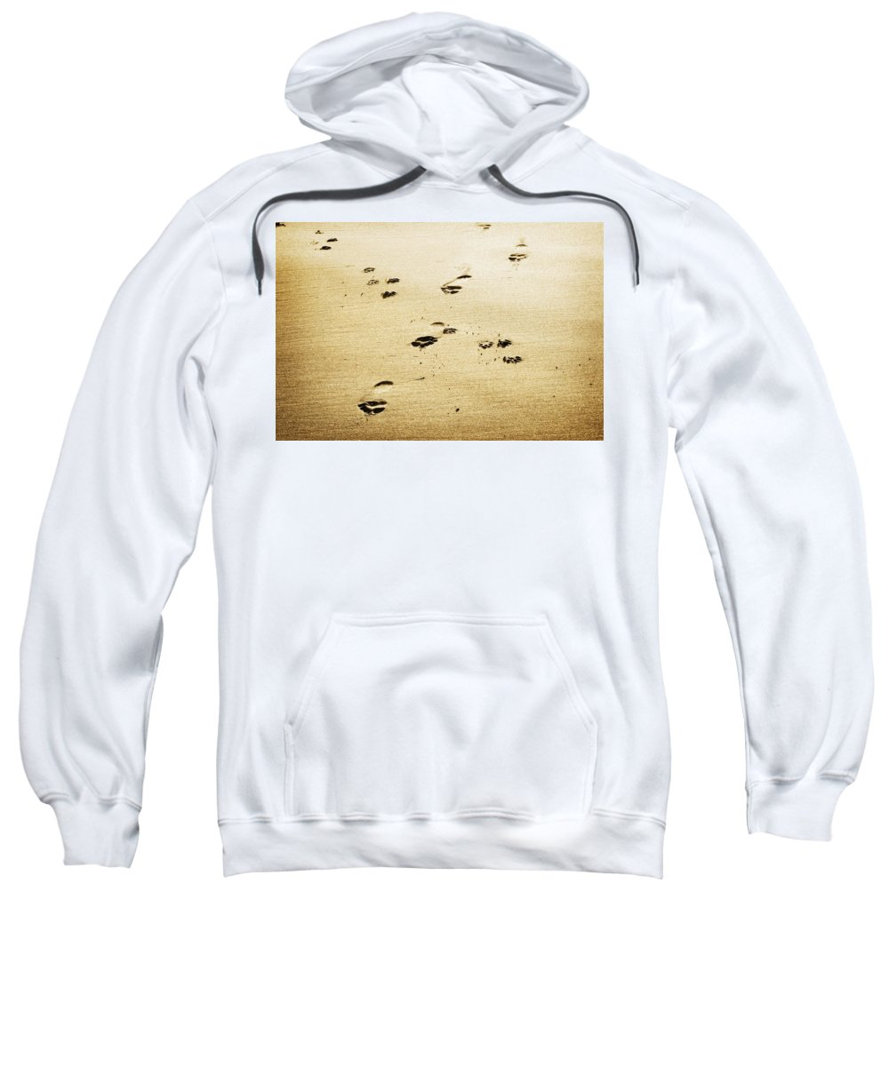Footprint Sweatshirt featuring the photograph A Man And His Dog by Marilyn Hunt