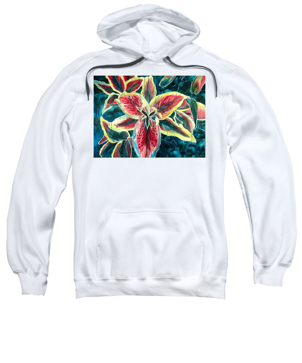 Floral Painting Sweatshirt featuring the painting A New Day by Jennifer McDuffie