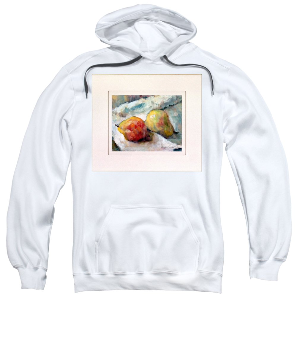 Pears Sweatshirt featuring the painting A Pair Of Pears by Georgia Mansur