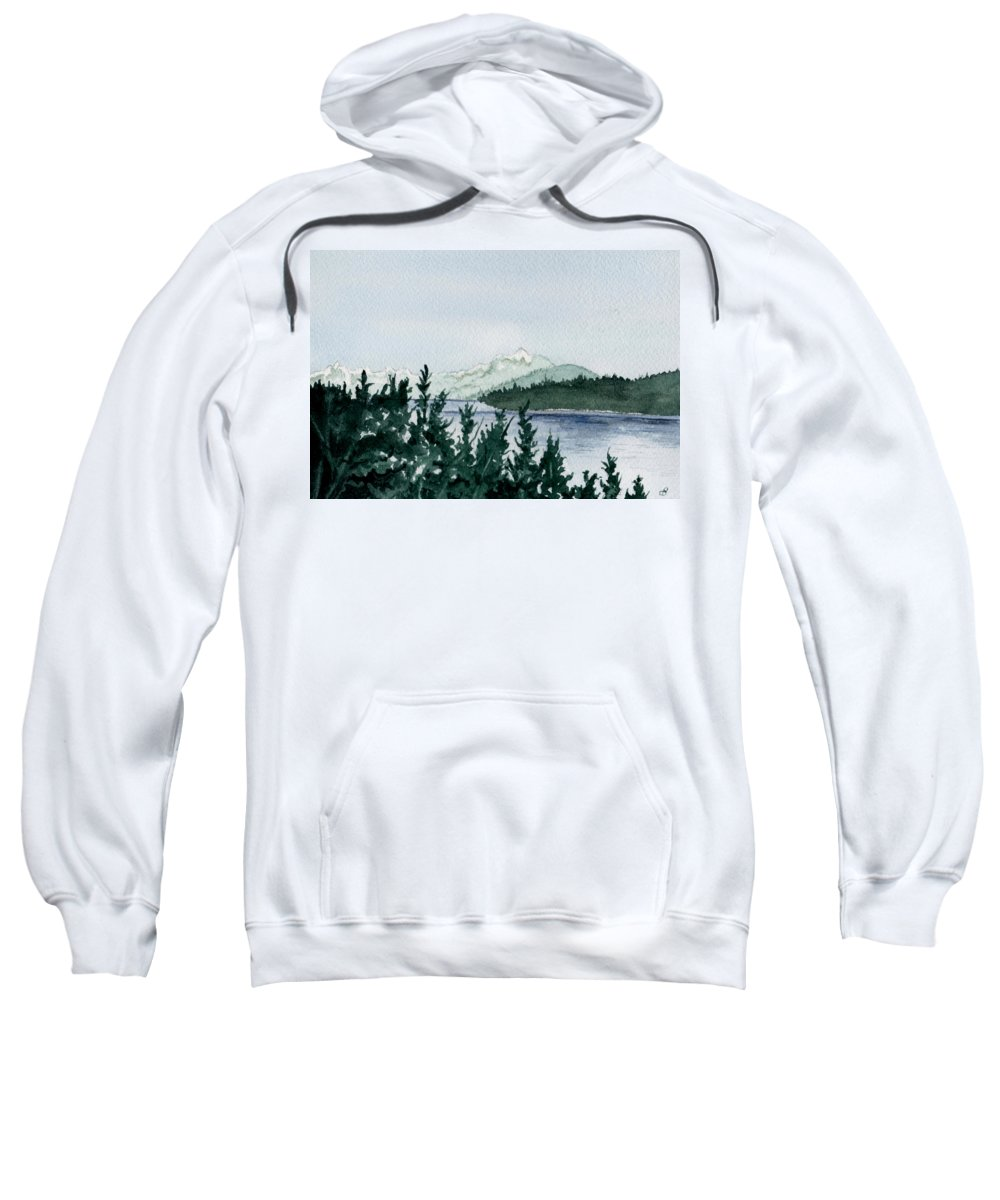 Landscape Sweatshirt featuring the painting A Peaceful Place by Brenda Owen