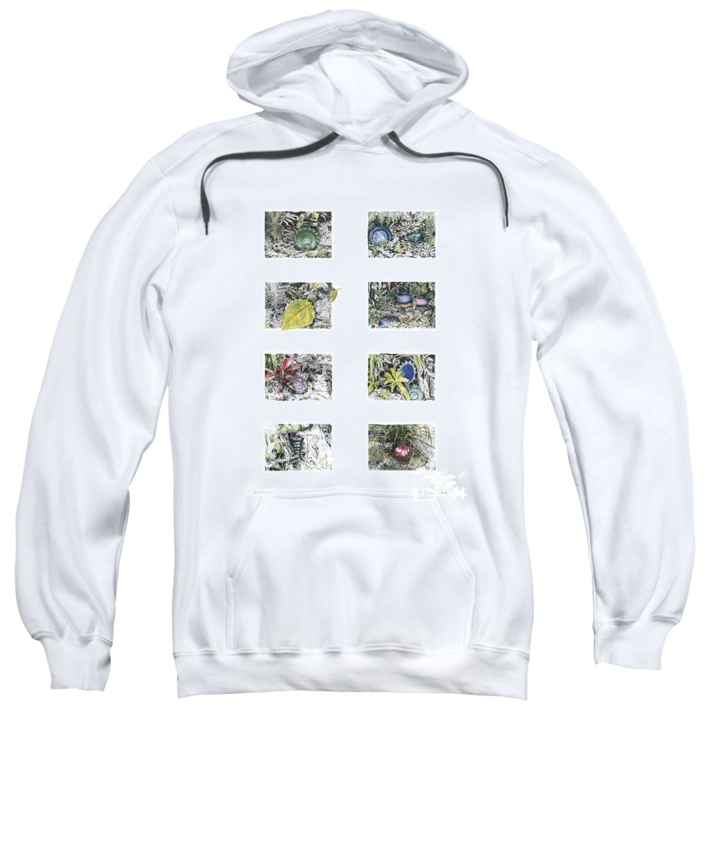 Tropical Sweatshirt featuring the drawing A Potters Garden by Kerryn Madsen-Pietsch