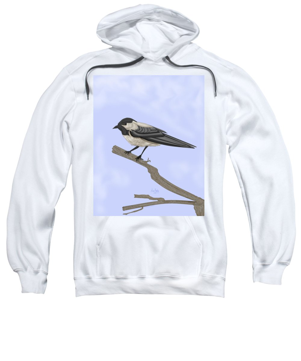 Bird Sweatshirt featuring the painting A Small Guest by Anne Norskog