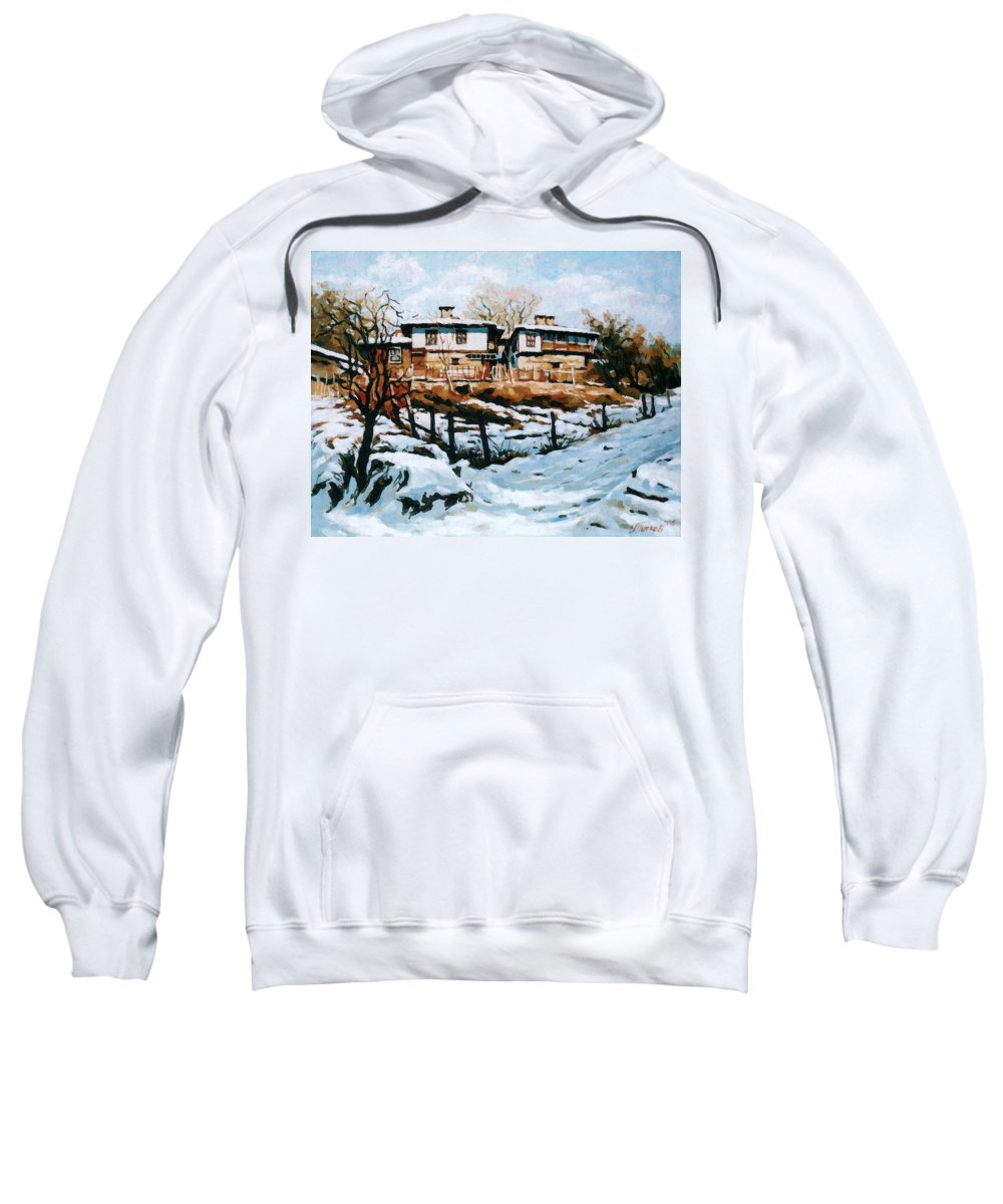 Landscape Sweatshirt featuring the painting A Village In Winter by Iliyan Bozhanov