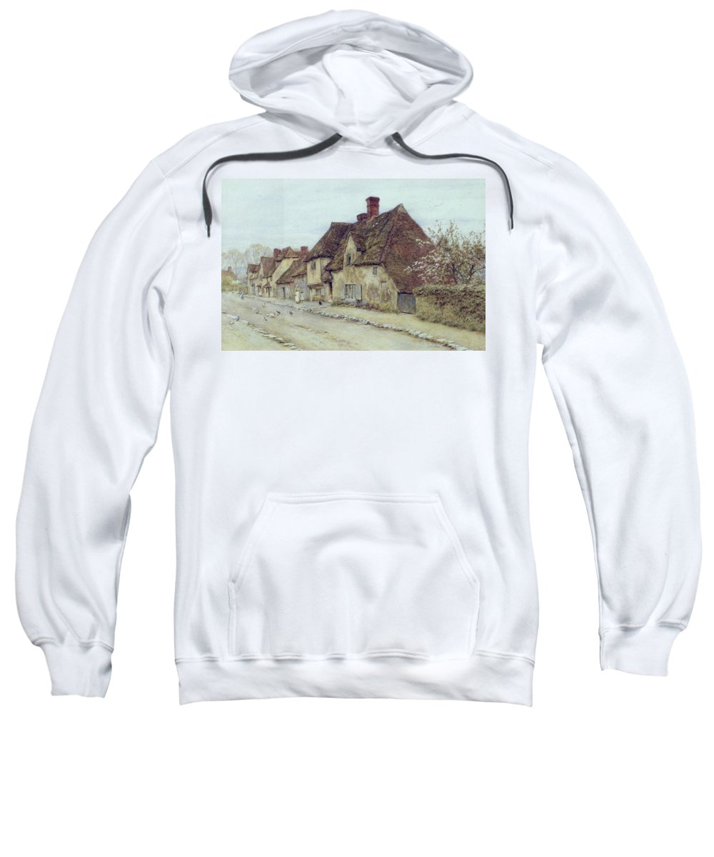 Cottage; Mother And Child; Rural Scene; Country; Countryside; Home; Path; Chicken; Picturesque; Idyllic; Daughter; Street; Row Of Houses; Female Sweatshirt featuring the painting A Village Street Kent by Helen Allingham