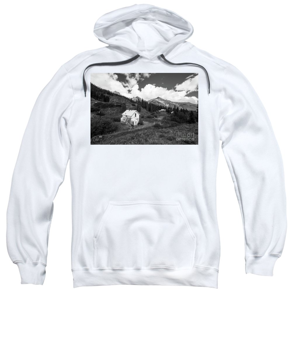 Colorado Landscape Photography Sweatshirt featuring the photograph Abandoned Home In Silverton In Black And White by Twenty Two North Photography