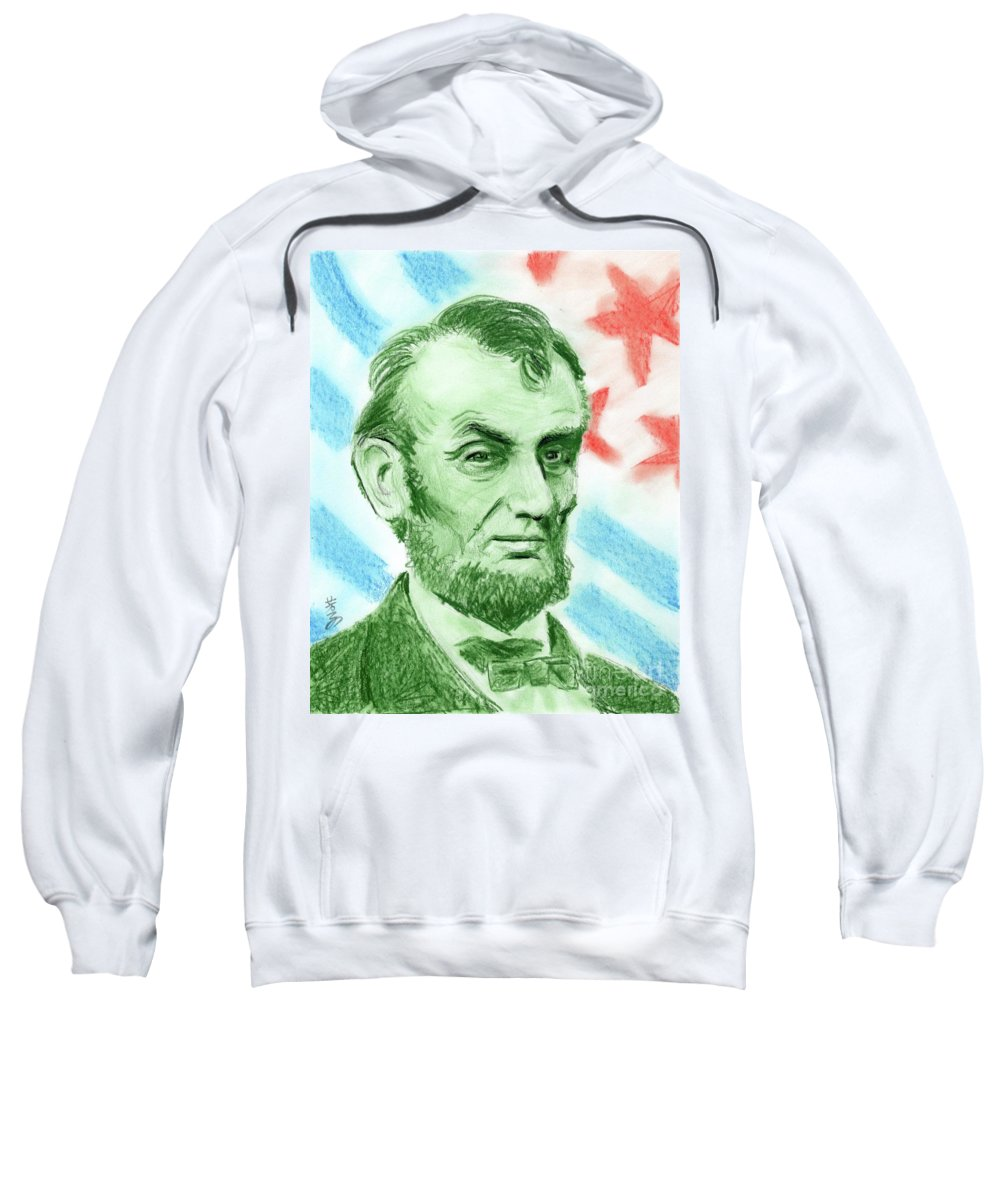 Abraham Lincoln Sweatshirt featuring the drawing Abraham Lincoln by Yoshiko Mishina