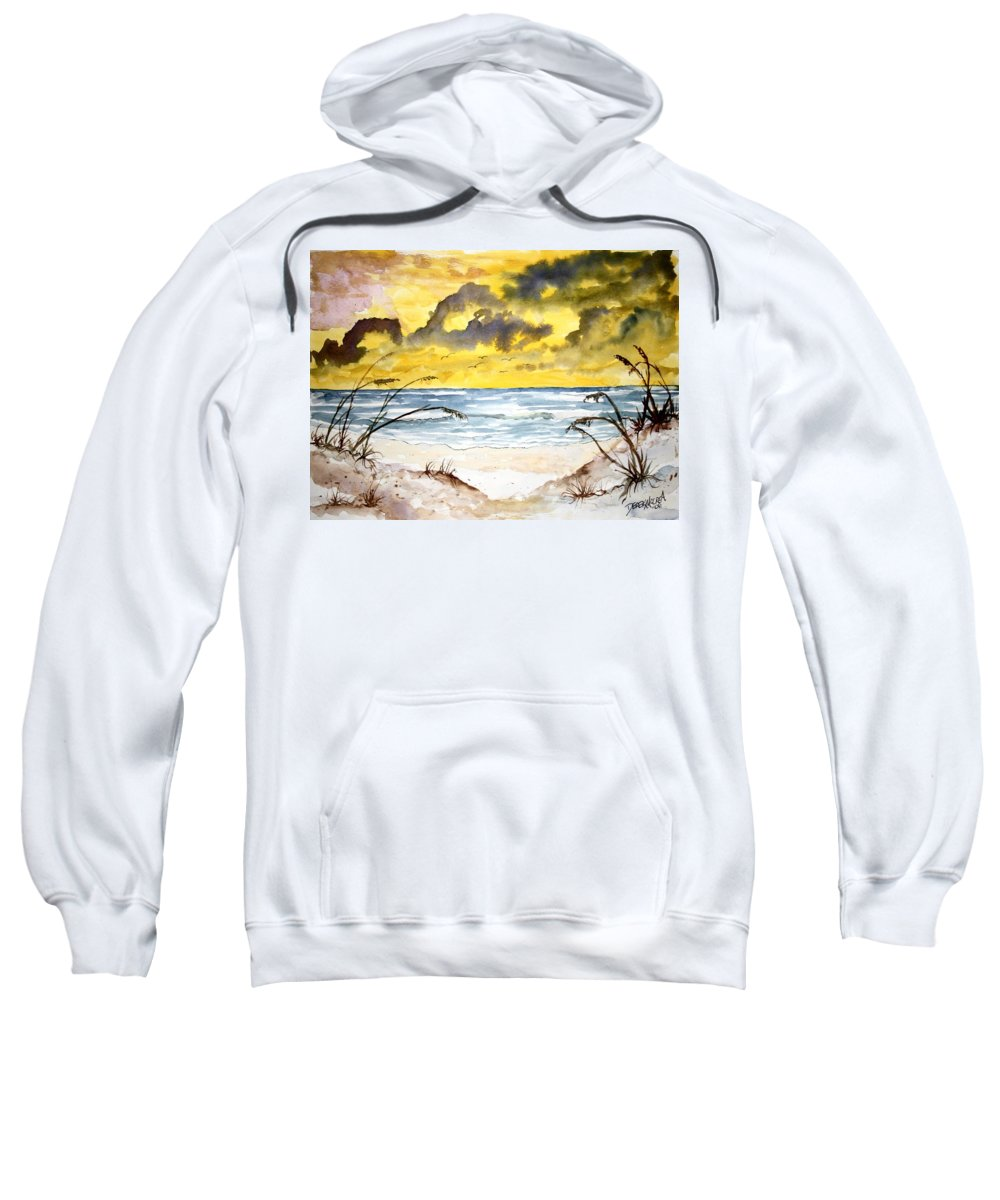 Beach Sweatshirt featuring the painting Abstract Beach Sand Dunes by Derek Mccrea