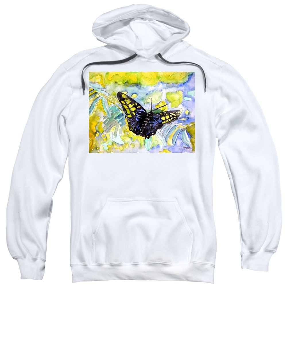 Abstract Sweatshirt featuring the painting Abstract Butterfly by Derek Mccrea