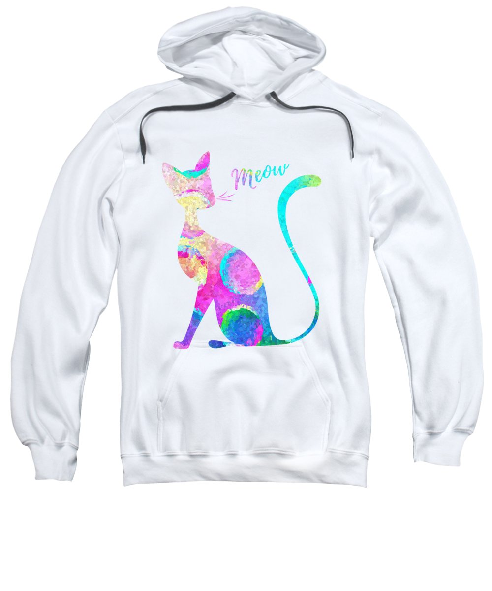 Watercolor Sweatshirt featuring the painting Abstract Cat by Zuzi 's