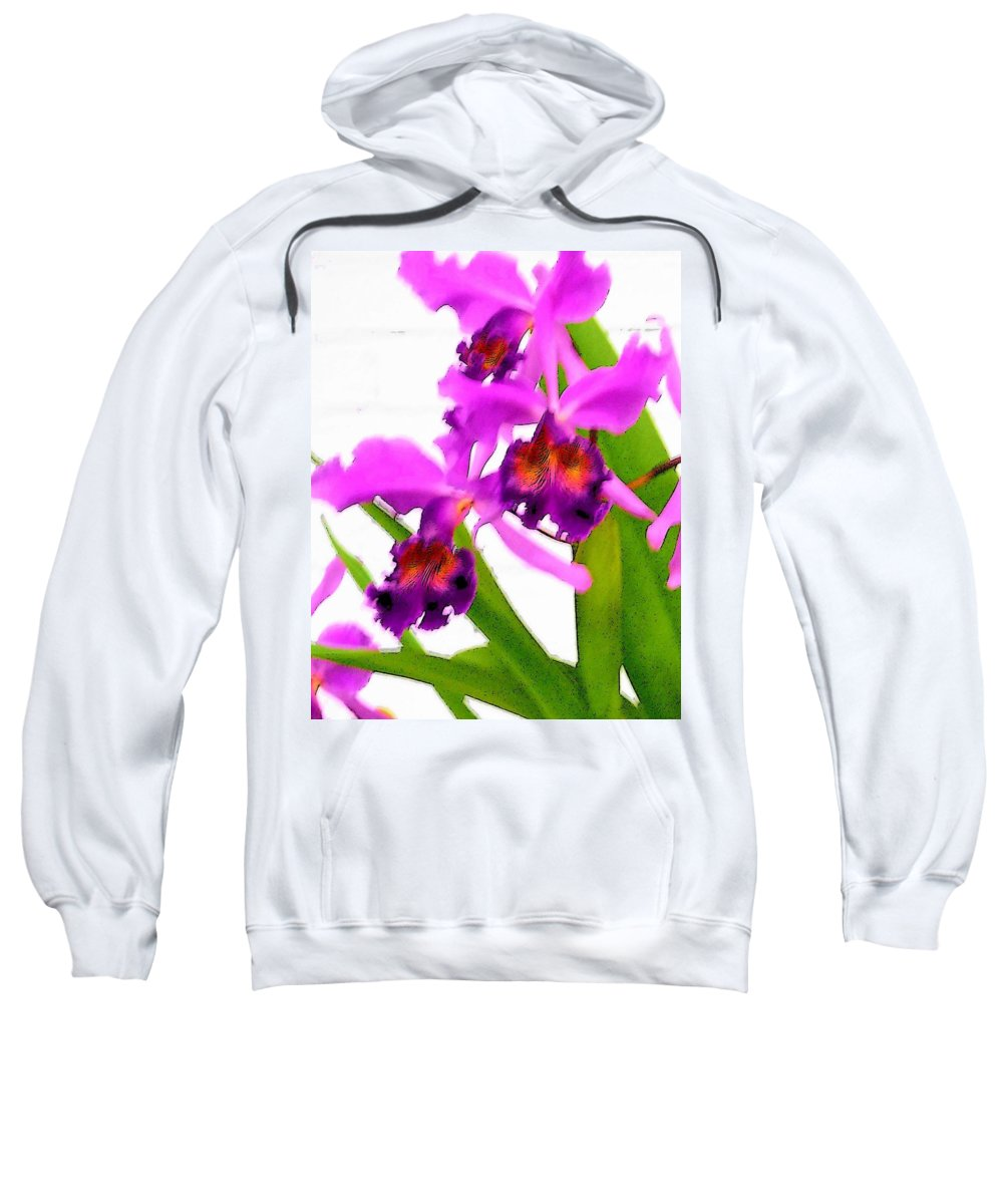 Flowers Sweatshirt featuring the digital art Abstract Iris by Anita Burgermeister