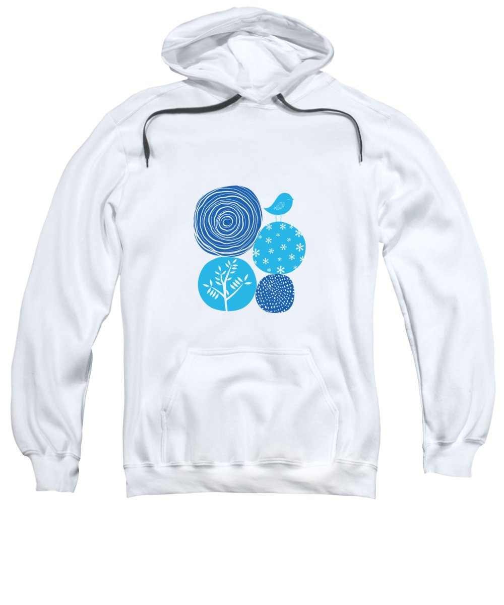 Nature Sweatshirt featuring the digital art Abstract Nature Blue by BONB Creative